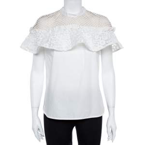Self Portrait White Cotton Lace Panel Ruffled Hudson Top M