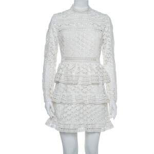 Self-Portrait White Star Lace High Neck Mini Dress M