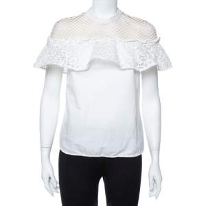 Self Portrait White Guipure Lace Detachable Yoke Detail Hudson Top M
