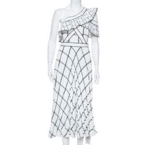 فستان سيلف بورتريت مزين كشكشة كتف واحد كريب مربعات مونوكرومي مقاس صغير (سمول)