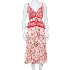 Self Portrait Cream & Red Dot Printed Satin Ruffle Detail Midi Dress L