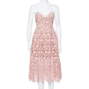 Self Portrait Pink Floral Guipure Lace Azaelea Dress M