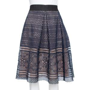 Self Portrait Navy Blue Guipure Lace Pleated Sofia Skirt L