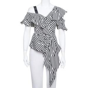 Self Portrait Monochrome Striped Stretch Cotton Asymmetric Top S