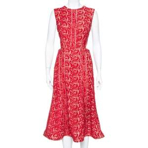 Self Portrait Crimson Red Guipure Lace Cut Out Detail Paneled Midi Dress M