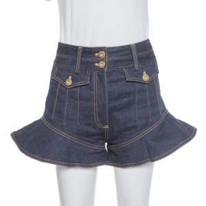 Self Portrait Navy Blue Denim High Waist Flounced Shorts S