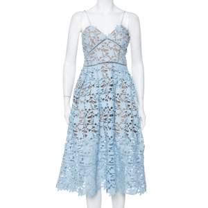 فستان سيلف بورتريت أزاليا دانتيل غويبيور أزرق سماوي مقاس متوسط