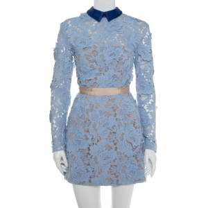 Self-Portrait Blue Guipure Lace Collared Peony Dress S