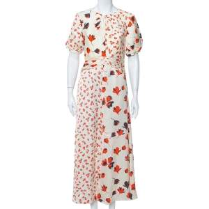 Self Portrait Cream Floral Printed Silk Satin Midi Dress M