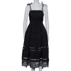 Self-Portrait Black Crepe Lace Tie Shoulder Detail Midi Dress S