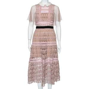 Self-Portrait Pale Pink Guipure Lace Cape Sleeve Detail Collared Midi Dress M