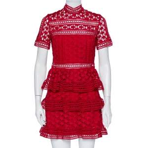 Self-Portrait Burgundy Guipure Star Lace High Neck Tiered Mini Dress S