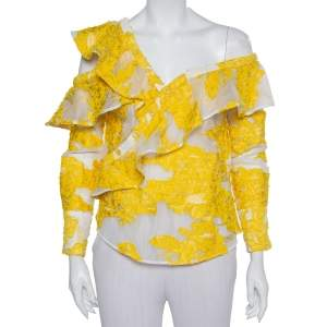 Self Portrait White & Yellow Fil Coupe Ruffled Off Shoulder Detail Top S