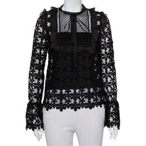Self-Portrait Black Guipure Lace Ruffle Trim Detail Sheer Adeline Top S