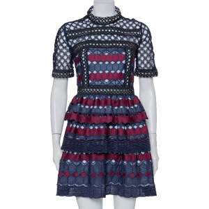 Self Portrait Navy Blue & Burgundy Guipure Lace Tiered Mini Dress L