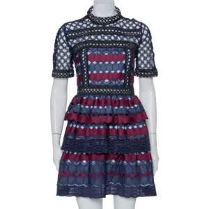 Self Portrait Navy Blue & Burgundy Guipure Lace Tiered Mini Dress L