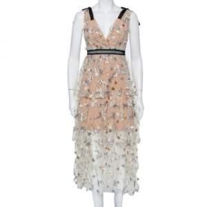 فستان ميدي سيلف -بورتريه بيج مطرز برقبة واسعة طبقات مقاس صغير - سمول