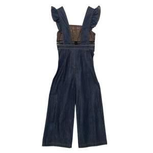 Self Portrait Navy Blue Denim & Lace Ruffle Sleeve Wide Leg Jumpsuit XS