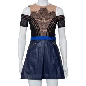 Self-Portrait Bicolor Knit & Faux Leather Lace Trim Cold Shoulder Infinity Dress M