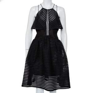 Self-Portrait Black Mesh Overlay Detail Flared Dress S