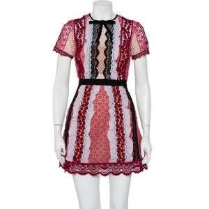 فستان ميني سيلف بورتريه دانتيل جيبير متعدد الألوان بكشكشة مزينة مقاس صغير - سمول