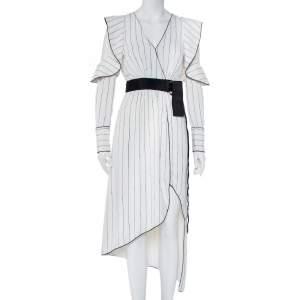 فستان ميدي بورتريه سيلف بورتريه كريب مخطط أبيض بحزام مشكش مقاس سمول
