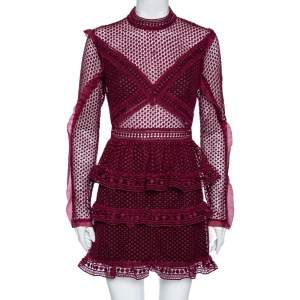 Self-Portrait Burgundy Guipure Lace Sheer Detail Tiered Mini Dress M