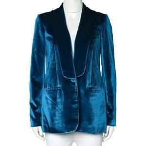 Self Portrait Blue Velvet Button Front Blazer S