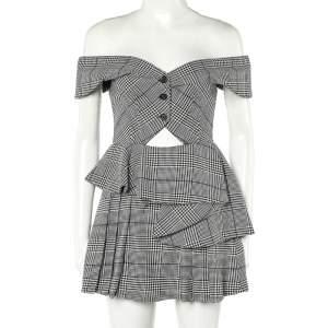 Self Portrait Monochrome Checkered Twill Cutout Detail Off Shoulder Mini Dress S