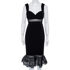 Self Portrait Black Crepe Lace Trim Sleeveless Midi Dress M