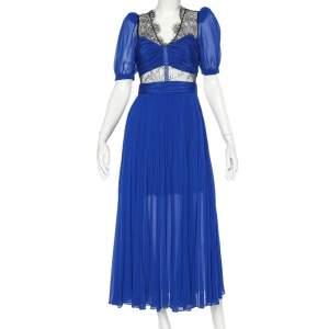 فستان ميدي سيلف بورتريه شيفون أزرق بطيات ودانتيل متباين مقاس صغير - سمول