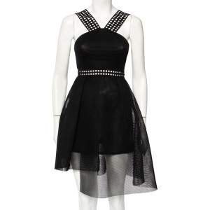 Self Portrait Black Mesh & Lace Asymmetric Hem Mini Dress S
