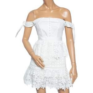 Self Portrait White Guipure Lace Tiered Off Shoulder Mini Dress S
