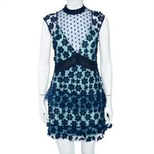 Self-Portrait Navy Blue Floral Applique Mesh & Lace Overlay Detail Mini Dress M