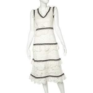 Self Portrait White Lace Contrast Trim Sleeveless Tiered Midi Dress M