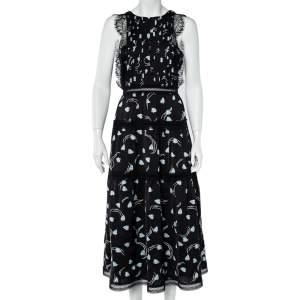 Self-Portrait Black Abstract Geo Print Sleeveless Midi Dress M