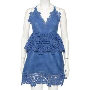 Self-Portrait Blue Guipure Lace Peplum Mini Dress S