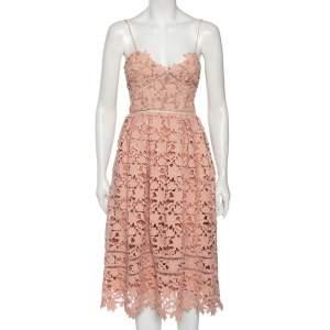 Self-Portrait Pink Guipure Lace Azalea Sleeveless Midi Dress S