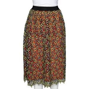 Self-Portrait Multicolor Floral Guipure Lace Midi Skirt S