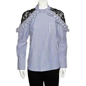 Self-Portrait Blue Striped Cotton & Contrast Lace Long Sleeve Top M