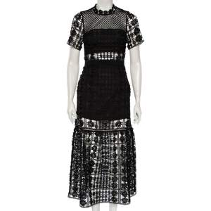 Self Portrait Black Floral Guipure Lace Flared Midi Dress S