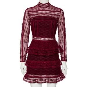 Self-Portrait Burgundy Guipure Lace Tiered Mini Dress S