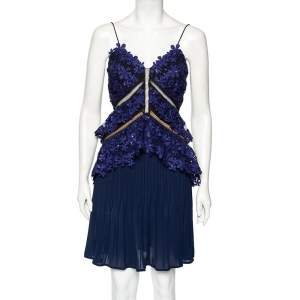 Self-Portrait Blue Chiffon And Embellished Guipure Lace Overlay Short Pleated Dress S
