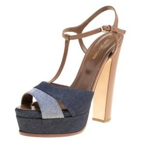 Sergio Rossi Brown/Blue Denim and Leather Platform Sandals Size 39.5