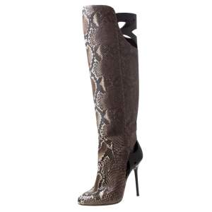 Sergio Rossi Brown Python Leather Knee Length Boots Size 39