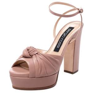 Sergio Rossi Beige Leather Kaia Knot Detail Platform Sandals Size 38