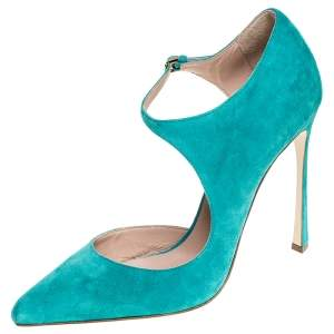 Sergio Rossi Aqua Blue Suede Mary Jane Ankle Strap Pumps Size 40