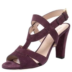 Sergio Rossi Burgundy Suede Ankle Strap Sandals Size 40