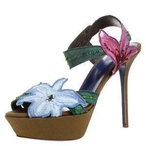 Sergio Rossi Multicolor Flower And Leaf Canvas Sandals Size 39.5