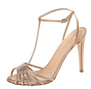 Sergio Rossi Beige Crystal Embellished Satin Shadows Ankle Strap Sandals Size 41